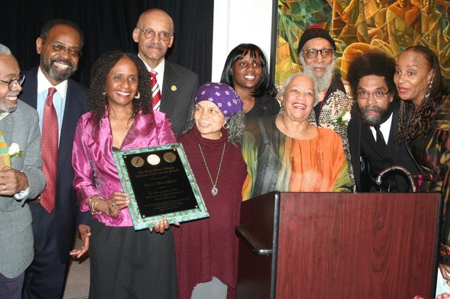 The Center for Black Literature at Medgar Evers College presented the Tenth National Black Writers Conference: March 2010: Pictured (front row, left to right): Honoree Amiri Baraka; Dr. Brenda M. Greene, Executive Director, Center for Black Literature; poet and presenter Sonia Sanchez; Honorary Chair Toni Morrison; Dr. Cornel West; and Susan L. Taylor. (Back row, left to right) Dean Richard Jones; Dean Moses Newsome; MEC student, and Honoree Kamau Brathwaite. Photo by Andre Beckles.